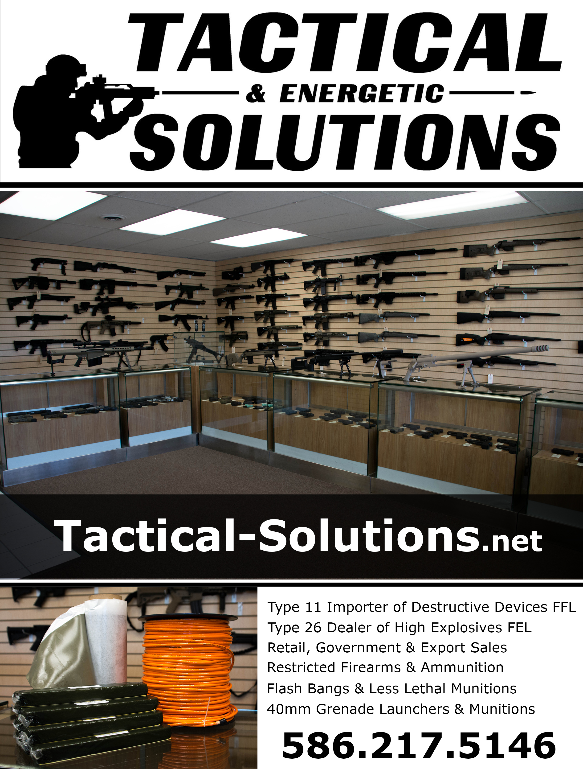 Tactical, TacticalSolutions, guns for sale, firearms for sale, firearms training, class 3 dealer, NFA dealer, Force on force training, government sales, police department sales, law enforcement sales, agency sales